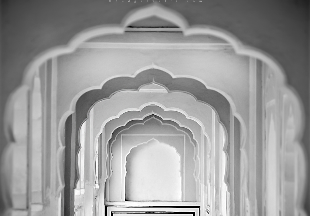 Arches and passages inside Hawa Mahal Jaipur