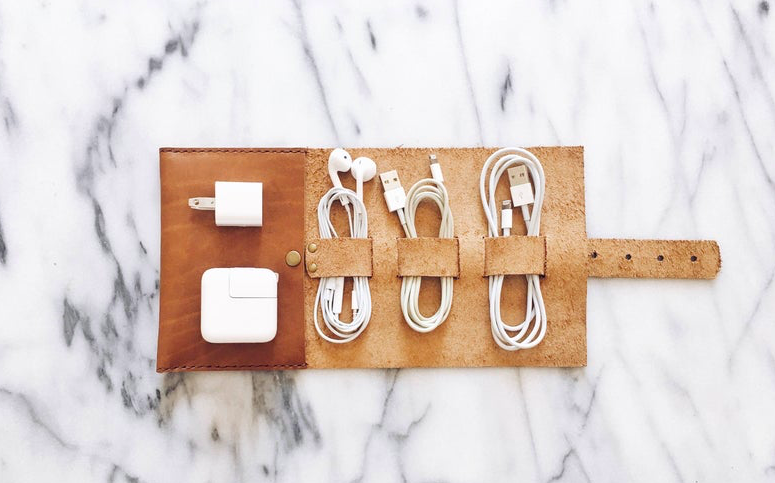 Leather earphone and charging cable pouch motorcycle