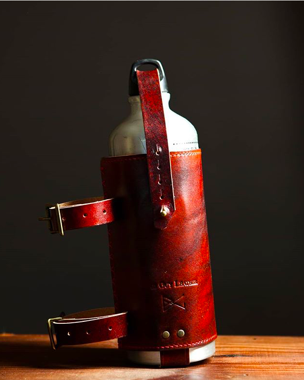 Leather fuel can holder