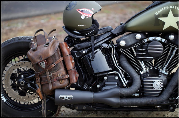 Vertical leather saddle bag for motorcycles