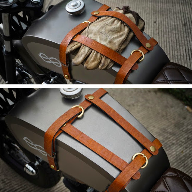 Leather bike tank strap